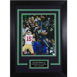 Richard Sherman Signed Seahawks 14x18.5 Custom Framed Photo Display (Sherman COA)
