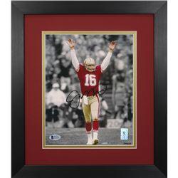 Joe Montana Signed 49ers 13.75x15.5 Custom Framed Photo Display (Beckett COA  Montana Hologram)