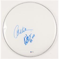 "Eddie Van Halen  Alex Van Halen Signed 12"" Drum Head Inscribed ""VH 2015"" (Beckett Hologram)"