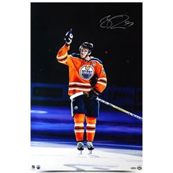 "Connor McDavid Signed Oilers ""Opening Night Hat-Trick"" 20x30 Photo (UDA COA)"