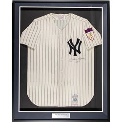 "Mickey Mantle Signed 1951 Yankees 34x41 Mitchell  Ness Custom Framed Jersey Display Inscribed ""NO. 7"