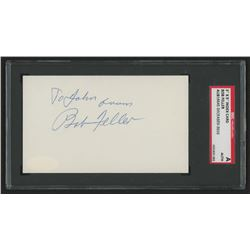 Bob Feller Signed 3x5 Cut (SGC Encapsulated)