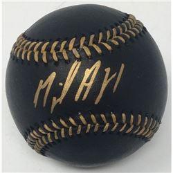 Miguel Andujar Signed OML Black Leather Baseball (Steiner COA)