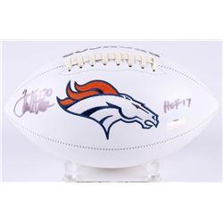 Terrell Davis Signed Broncos Logo Football Inscribed  HOF 17  (Radtke COA)