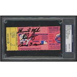 Nolan Ryan Signed 1969 World Series Game 3 Ticket Inscribed  'Miracle Mets  and  Game 3 Save  (PSA 1