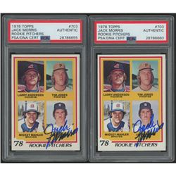 Lot of (2) Jack Morris Signed 1978 Topps #703 Rookie Pitchers RC (PSA Encapsulated)