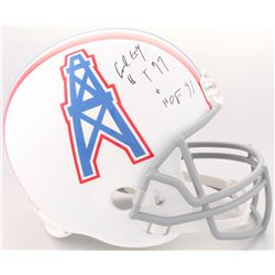 "Earl Campbell Signed Oilers Full-Size Helmet Inscribed ""HT 77""  ""HOF 91"" (JSA COA)"