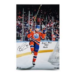 "Connor McDavid Signed Oilers ""Home Opener Celebration"" 16x24 Photo Inscribed ""Rogers Place Debut 10/"