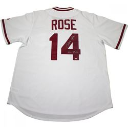 "Pete Rose Signed Reds Jersey Inscribed ""Hit King"" (Steiner COA)"