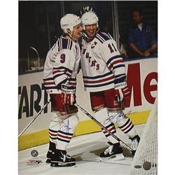 Adam Graves  Mark Messier Signed Rangers 16x20 Photo (Steiner COA)