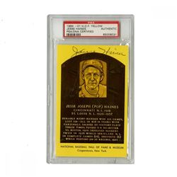 Jesse Haines Signed Gold Hall of Fame Postcard (PSA Encapsulated)