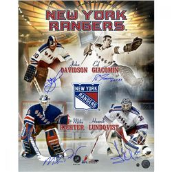 New York Rangers Goalies 16x20 Photo Team-Signed by (4) with Eddie Giacomin, Mike Richter, John Davi