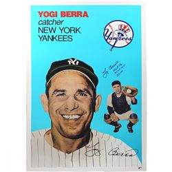 "Yogi Berra Signed Yankees 24x36 Lithograph Inscribed ""H.O.F. 72"", ""MVP 51-54-55""  ""358 HRs"" (Steiner"