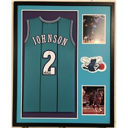 Larry Johnson Signed Hornets 34x42 Custom Framed Jersey (PSA COA)