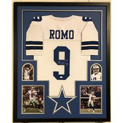 Tony Romo Signed Cowboys 34x42 Custom Framed Jersey (JSA COA)