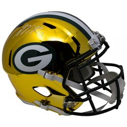 Davante Adams Signed Green Bay Packers Chrome Full-Size Speed Helmet (JSA COA)
