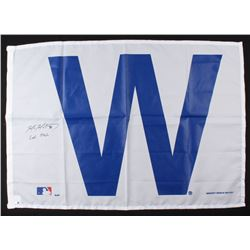 """Mike Montgomery Signed Cubs 27x37 """"W"""" Flag Inscribed """"Last Pitch"""" (Schwartz COA)"""