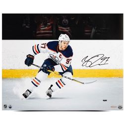 "Connor McDavid Signed Oilers ""Snow The Cameraman"" 16x20 Photo (UDA COA)"