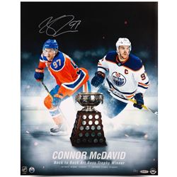 "Connor McDavid Signed Oilers ""Back to Back Art Ross Trophy Winner"" 16x20 Photo (UDA COA)"