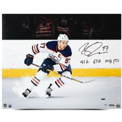 "Connor McDavid Signed Oilers ""Snow The Cameraman"" 16x20 Limited Edition Photo Inscribed """"41G 67A 10"