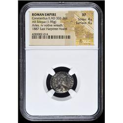 337-361 AD Roman Empire Constantius II AR (Silver) Siliqua (1.95g) Arles rv Votive Wreath (NGC XF) S