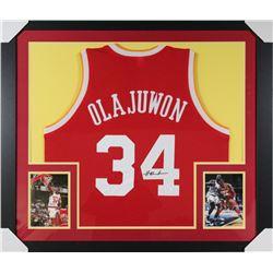 Hakeem Olajuwon Signed Rockets 31x35 Custom Framed Jersey (JSA COA)