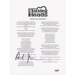 David Byrne Signed  The Talking Heads  8x10 Lyric Sheet (PSA COA)