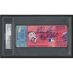 """Nolan Ryan Signed 1969 World Series Game 3 Ticket Inscribed """"'Miracle Mets"""" (PSA Encapsulated)"""
