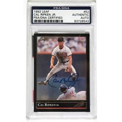 Cal Ripken Jr. Signed 1992 Leaf #52 (PSA Encapsulated)