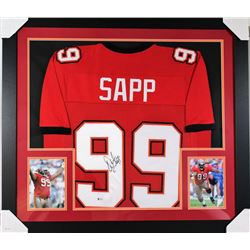 Warren Sapp Signed Buccaneers 31x35 Custom Framed Jersey (Beckett COA)