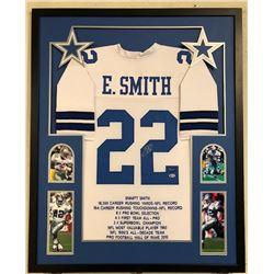 Emmitt Smith Signed Cowboys 34x42 Custom Framed Career Highlight Stat Jersey (Beckett COA  Prova Hol