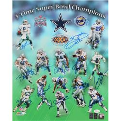 Cowboys 3-Time Super Bowl Champions 16x20 Photo Signed by (13) With Emmitt Smith, Charles Haley, Mic