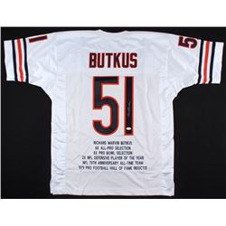 Dick Butkus Signed Bears Career Highlights Stat Jersey (JSA COA)