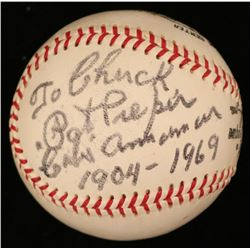 "Pat Pieper Signed ONL Baseball Inscribed ""Cubs Announcer 1904-1969"" (JSA COA)"
