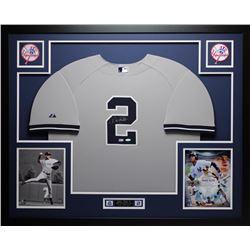 Derek Jeter Signed Yankees 35x43 Custom Framed Jersey (Steiner COA  MLB Hologram)
