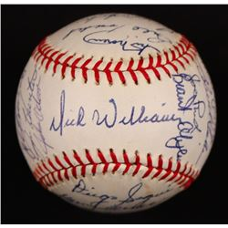"""1972 Oakland A's ONL Baseball Team-Signed by (31) with Reggie Jackson, Jim """"Catfish"""" Hunter, Dick Wi"""
