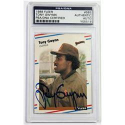 Tony Gwynn Signed 1988 Fleer #585 (PSA Encapsulated)