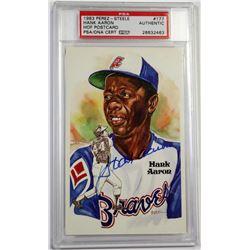 Hank Aaron Signed Braves Perez-Steele Postcard (PSA Encapsulated)