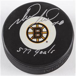"Mark Recchi Signed Bruins Logo Hockey Puck Inscribed ""577 Goals"" (JSA COA  Sure Shot Promotions Holo"