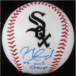 """Jon Garland Signed Chicago White Sox Logo OML Baseball Inscribed """"05 W.S. Champs"""" (Schwartz COA)"""