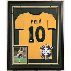 Pele Signed Team Brazil 34x42 Custom Framed Jersey Display (PSA COA)
