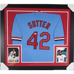 "Bruce Sutter Signed Cardinals 31x35 Custom Framed Jersey Inscribed ""HOF 06""  ""300 Saves"" (JSA COA)"
