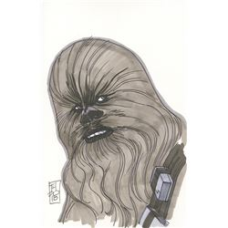 "Tom Hodges - Chewbacca ""Star Wars"" Signed ORIGINAL 5.5"" x 8.5"" Color Drawing on Paper (1/1)"