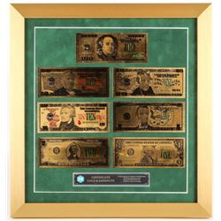 Set of (7) 24Kt Gold Plated U.S. Bills 17x18 Custom Framed Display