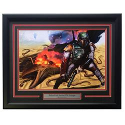 "Greg Horn Signed LE ""Boba Fett Sarlac Pit Escape"" 20x26 Custom Framed Lithograph Display (Sports Int"