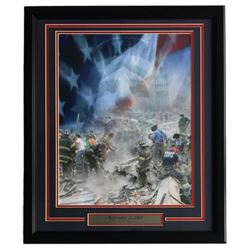 September 11, 2001 NYFD Ground Zero 27x22 Custom Framed Photo Display