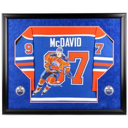 Connor McDavid Signed Oilers 35.5x43.5 Custom Framed Jersey Display (JSA LOA)
