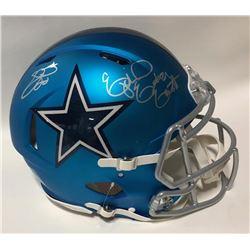 Ezekiel Elliott  Emmitt Smith Signed Cowboys Full-Size Blaze Speed Helmet (Beckett COA  Prova Hologr