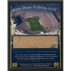 Notre Dame Fighting Irish 8x10 Plaque with Game Used Bench Slab (Steiner COA)