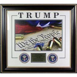 Donald Trump Signed 26x29 Custom Framed Photo Display (PSA COA)